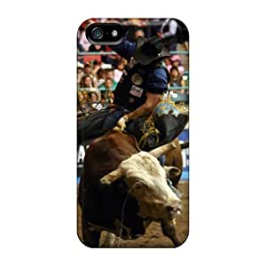 Iphone 5/5s ZFM13215bzfu Custom Stylish Bull Riding Skin Scratch Protection Hard Phone Cases -SherriFakhry