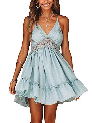 Womens Floral Mini Dresses Summer Spaghetti Strap V Neck Halter A-line Dress Blue