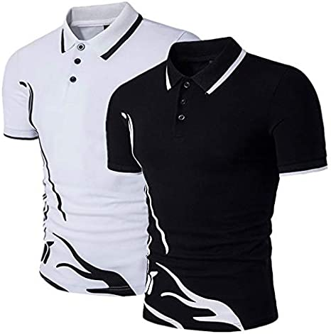 GFRBJK Camisa Polo de los Hombres de Manga Corta de algodón ...