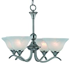 Hardware House's Dover four-light chandelier features an Art Deco design complete with satin nickel finish and alabaster glass bulb shades (view larger). The Hardware House 10-4029 Dover four-light chandelier combines the best of c...