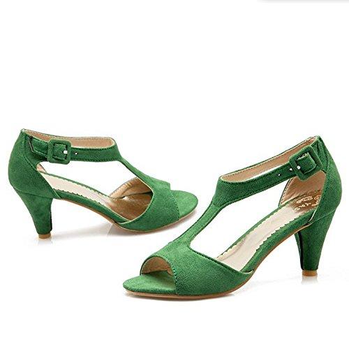 RAZAMAZA Mujer Peep Toe Gladiator Sandalias Correa En T Tac¨®n Embudo Verde
