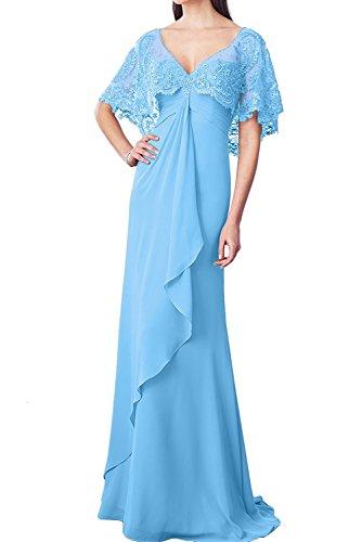 Ballkleider Bodenlang Blau Ausschnitt Chiffon v Marie Brautmutterkleider Elegant Burgundy Abendkleider Braut Spitze La qPw8B77