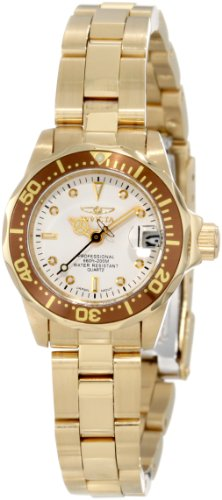 Invicta Women's 11444 Pro Diver Mini White Dial 18k Gold Ion-Plated Stainless Steel Watch