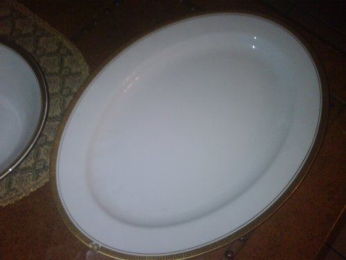 Vintage Japan Linden Fine China Greek Key Large Meat Platter Mk-3006 -