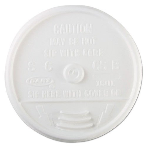 Dart 16UL Plastic Lids, for 16oz Hot/Cold Foam Cups, Sip-Thru Lid, White, 1000/Carton -