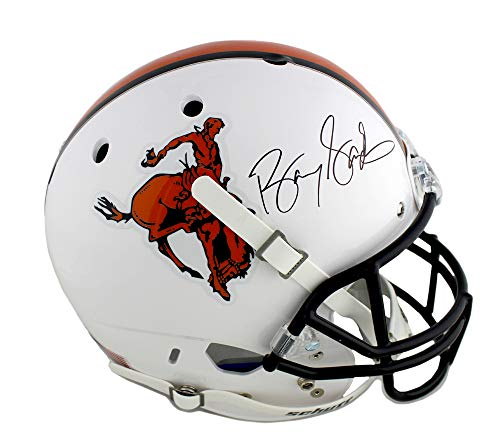Barry Sanders Autographed/Signed Oklahoma State Cowboys Throwback Schutt NCAA Full Size Cowboy Silhouette Helmet