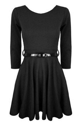 Buy belted black skater dress - 6