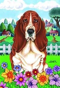 Basset Hound - by Tomoyo Pitcher, Spring Dog Breed 28'' x 40'' Flag