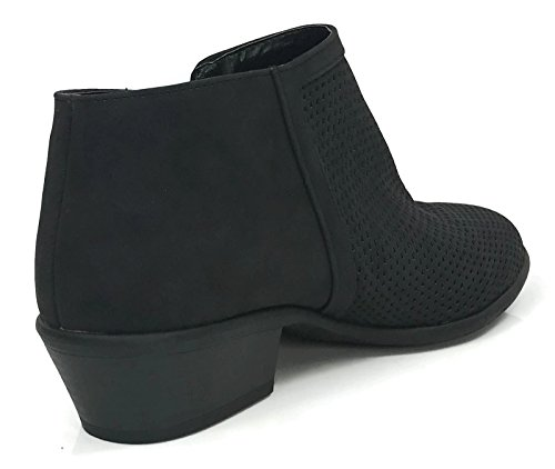 V Zipper Low Ankle Black Bootie Marie Perforated Arianna Stacked Side Cut Heel Bella Women's Chunky Xa0Rw