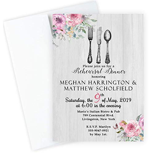 Rehearsal Dinner Invitations Wedding and Envelopes Set of 20
