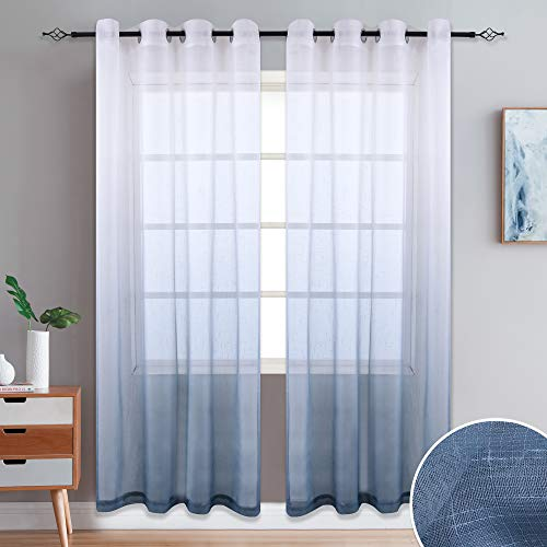 DONREN Linen Look Semi Sheer Curtains Gradient Color Tulle Voile Sheer Curtains Home Decorations for Living Room/Kids Room/Wedding Grommet Top,2 Panels,52x84 Inch, Grey Ombre