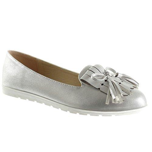 Angkorly - damen Schuhe Mokassin - Slip-On - Franse - Bommel flache Ferse 1.5 CM - Silber