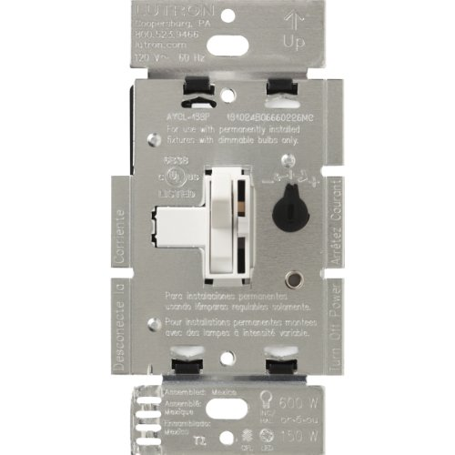 Lutron Toggler C.L Dimmer Switch for Dimmable LED, Halogen and Incandescent Bulbs, Single-Pole or 3-Way, TGCL-153PH-WH, White ()