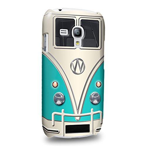 Case88 Premium Designs Cyan Retro Volkswagen Mini Van VW Bus Protective Snap-on Hard Back Case Cover for Samsung Galaxy S3 mini