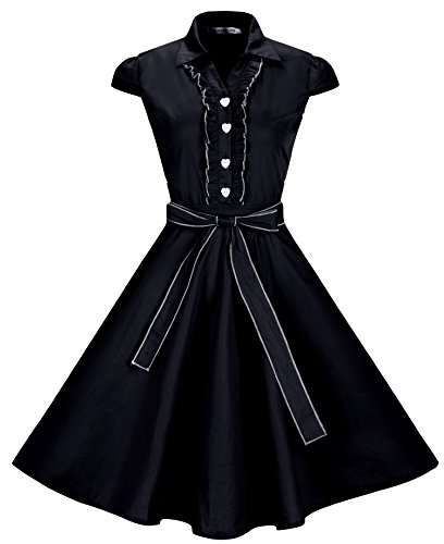 Button Party Dress In Black (BI.TENCON Women's 1950s Vintage Cap Sleeve Swing Retro Midi Party Dress in Black Plus Size XL)
