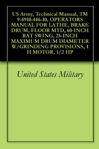 US Army, Technical Manual, TM 9-4910-446-10, OPERATORS MANUAL FOR LATHE, BRAKE DRUM, FLOOR MTD, 60-INCH RAT SWING, 25-INCH MAXIMUM DRUM DIAMETER W/GRINDING PROVISIONS, 1 H MOTOR, 1/2 HP