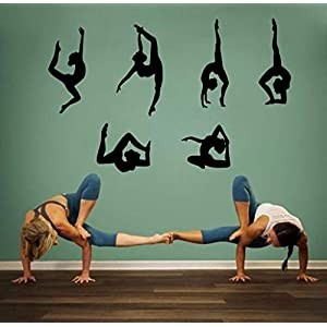 Yoga Wall Sticker Vinyl Yoga Poses Silhouette Wallpaper Woman Exercise Meditation Wall Decal for Yoga Studio or Home,Black