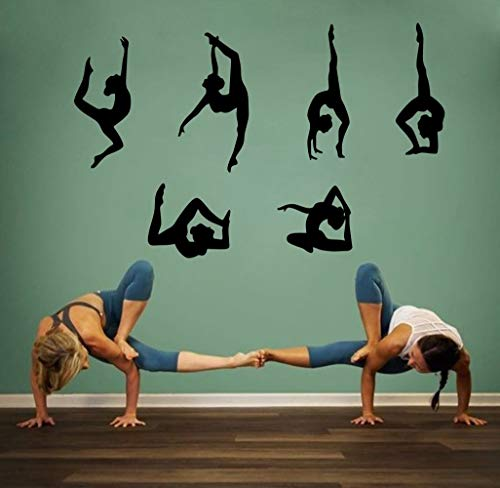 Arttop  Yoga Wall Sticker Vinyl Yoga Poses Silhouette Wallpaper Woman Exercise Meditation Wall Decal for Yoga Studio or Home,Black