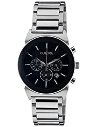 Bulova 96B203 Men's Quartz Watch with Black Dial and Stainless Steel Strap