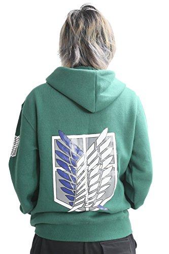 Shingeki No Kyojin Ataque a los titanes - Sudadera con capucha, con cremallera, disfraz, cosplay, diseño de logo con alas verde verde X-Large: Amazon.es: ...