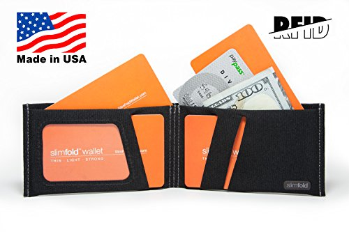 Minimalist Thin Nano Wallet With Gray Stitching Rfid Waterproof Made SlimFold Size and Black RFID Guaranteed in USA Durable Option IBdxWZ7qw