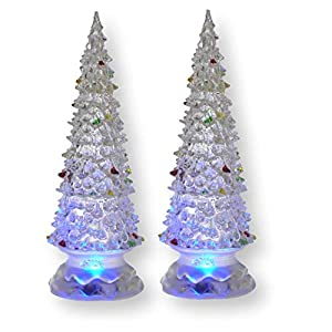 BANBERRY DESIGNS Lighted Christmas Trees - Set of 2 Color Changing LED Acrylic Xmas Trees - Each Tree has Colorful Ornaments - Holiday Decorations - Christmas Decorations 118
