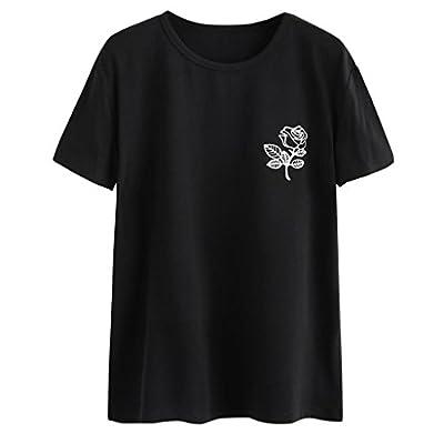 Tanhangguan Womens Tops Rose Cute Funny Shirts Short Sleeve Crewneck Casual T Shirt Teens Blouses Clearance