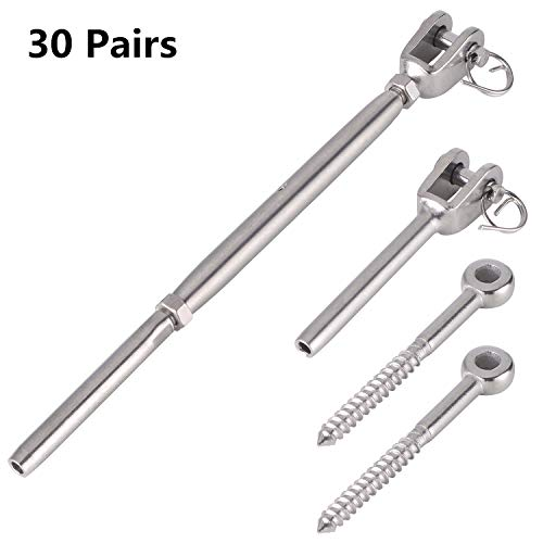 - Senmit Adjustable 1/8 Stainless Steel Deck Cable Railing Kit for Wood Posts, Swage Turnbuckle 30-Pcs, Eye Terminal Wood Screw Stair Railing Marine Grade 30 Pairs