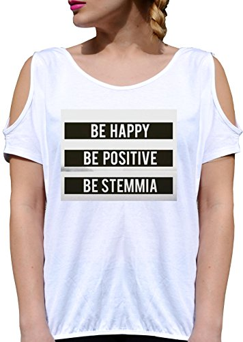 T SHIRT JODE GIRL GGG27 Z1723 BE HAPPY BE POSITIVE BE STEMMIA ITALY LAUGH FUNNY FASHION COOL BIANCA - WHITE M