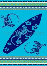 Tiendadeleggings Toalla Playa Super Grande (Doble) (Tabla Gecko Azul) 170 X 150