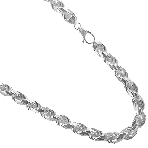 JOSCO 10mm Sterling Silver Diamond-cut Rope Chain. Thick Solid Italian .925 Necklace. 22,24,30 Inches (24)