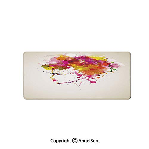 Large Gaming Mouse Pad with Durable Stitched Edges, Non-Slip Rubber Base, Mouse Mat for Office/Computer/Laptop-Abstract,Watercolor Portrait of a Woman with Artsy Floral Hairstyle Pa,16
