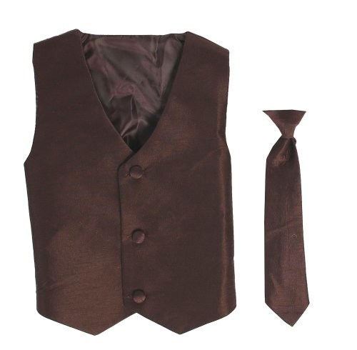 (Vest and Clip On Baby Boy Necktie set - BROWN -)
