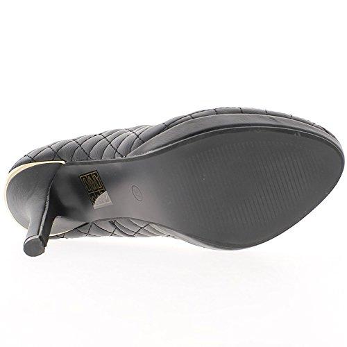 ChaussMoi Escarpins Matelassés Noirs à Talon de 12cm et Plateforme