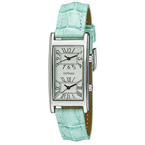 Gotham Woman's Silver-Tone Dual Time Blue Leather Strap Watch # GWC15090SBU