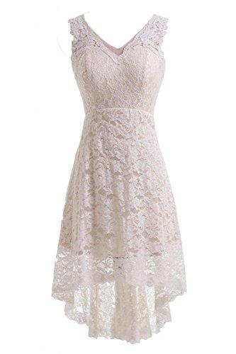 JOYNO BRIDE V-neck Lace HI-LO Ivory Evening Dress for Reception Wedding Dress (4, Ivory)