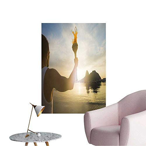 (Wall Decals Torchbearer Athlete Standing with Sport Torch Against a Scenic Sunrise View Environmental Protection Vinyl,16