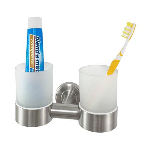 Badserie Ambiente - Zahnputzbecherhalter, Doppelwandhalter aus satiniertem Glas und robustem Edelstahl, matt