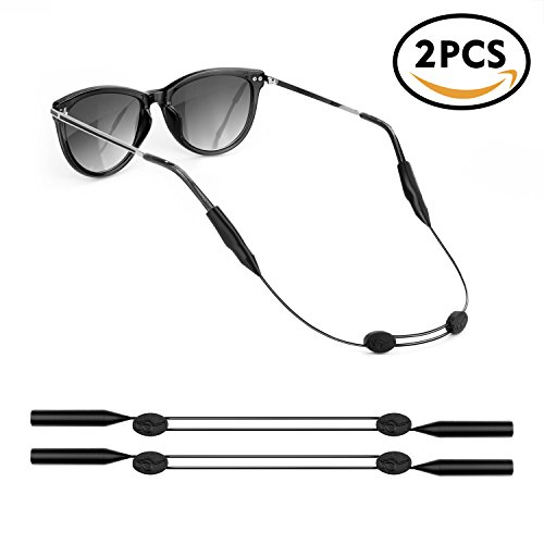 YR Adjustable Eyeglass Retainer,Glasses Retainer Strap for Sunglasses Safety Glasses,Sunglasses Holder Strap Sport,Black,2 (Match Straps)