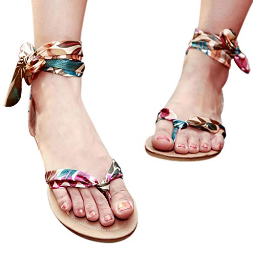 Leisuraly 2019 Woman Fashion Sandals!!!Sandal for Women,Vintage Silk Slingback Strap Ankle Bandage Summer Shoes Blue