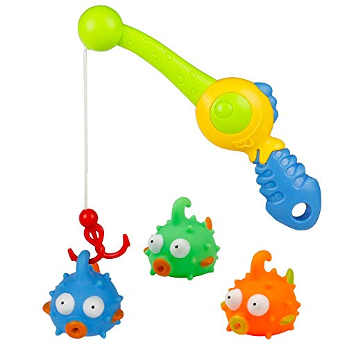 Kids Bath Toys Bathtime Toys Bathtub Fishing Games Tub Toy Squirt Water Floating Puffer Fish with Rod Set Fun Pool Shower Bathroom Toys Gift for Baby Toddlers Infants Girls Boys, -