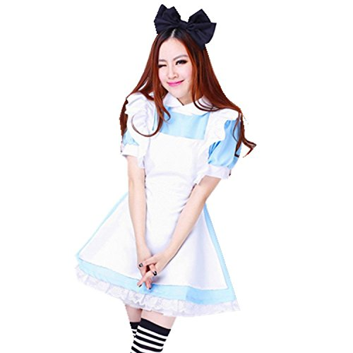 [Treasure-box Blue Maid Dress Lolita Maid Cosplay Costume (Large, Including socks)] (Grady Twins Costume)