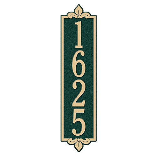 Whitehall Products Rectangular Lyon Estate Wall 1-Line Vertical Address Plaque - Green/Gold