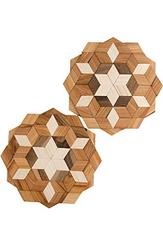 (ECOVOO Wood Pot Trivet For Hot Dishes Set of 2 - Large Hot Trivet For Pots and Pans - Round Trivet Mat for Countertop - Hot Plates for Table - Kitchen Hot Pads and Wooden Placemats)