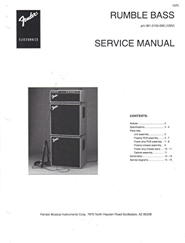 FENDER RUMBLE BASS Amp Amplifier Service Repair Manual, 081 2100 000