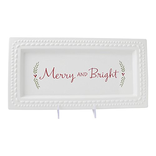 [Hallmark Home Holiday Serving Platter, White Ceramic Dish with Red