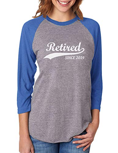 Tstars Retired Since 2019 Funny 3/4 Women Sleeve Baseball Jersey Shirt Small Blue/Gray