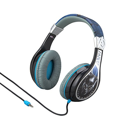 Kids Headphones for Kids Black Panther Adjustable Stereo Tangle-Free 3.5mm Jack Wired Cord Over Ear Headset for Children Parental Volume Control Kid Friendly Safe Perfect for School Home Travel