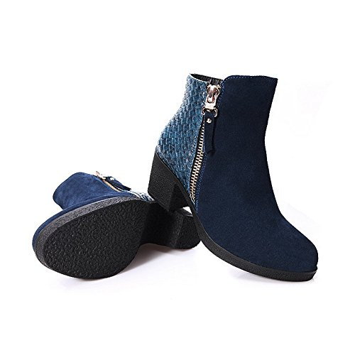 and Heels Cow 7 Kitten Leather Short Zipper M Solid AmoonyFashion with 5 US Plush B Blue Boots Womens Metalornament tEfPq4gw