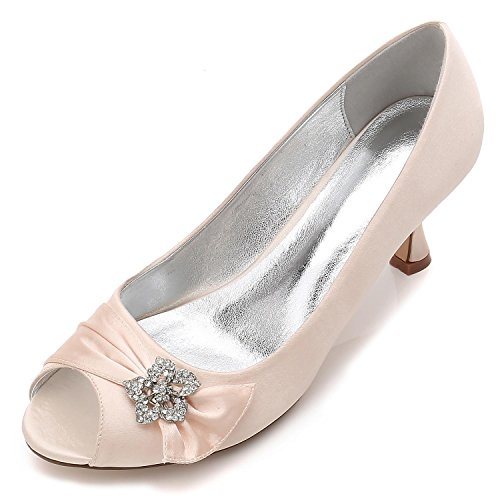 L@YC Zapatos De Boda De Las Mujeres F17061-60 CóModo Vestido De Noche De Invierno Rhinestone abierto Del Dedo Del Pie Y Del SatéN Champagne